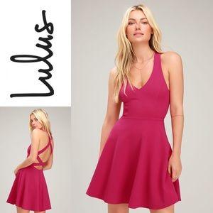 NWT LULU'S Fuchsia Strappy Backless Skater Dress